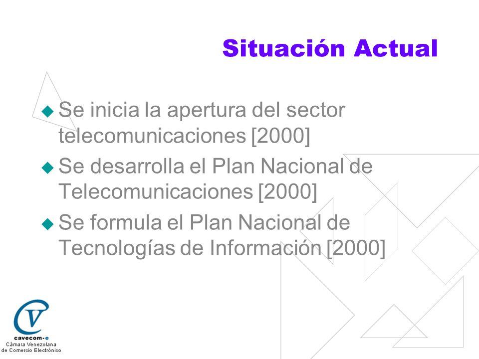 Situación Actual Se inicia la apertura del sector telecomunicaciones [2000] Se desarrolla el Plan Nacional de Telecomunicaciones [2000]